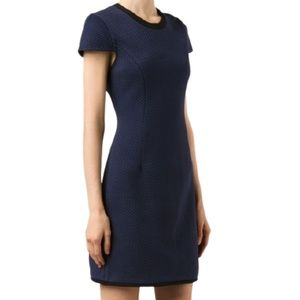 3.1 Phillip Lim Quilted Short Sleeve Dress Navy 0